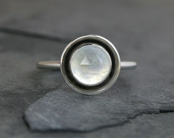 Rose Cut Rainbow Moonstone Halo Ring, Sterling Silver, Luminous Moonstone Jewel, Statement Ring