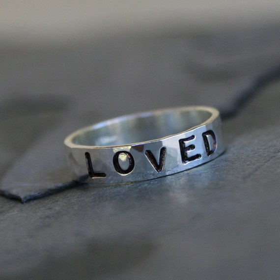 Custom Stamped Ring, Sterling Silver Stacking Ring, Valentine's Day, Personalized Hand Stamped Mothers Ring, Handstamped Word Inspiration