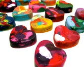 Kids VALENTINE Heart Crayons - Mini Heart Recycled Crayons - Set of 6 Recycled Rainbow Crayons