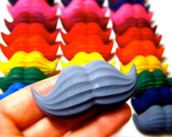 Mustache Crayons - Set of 8 Recycled Crayons (Solid Color Recycled Rainbow Crayon Set)