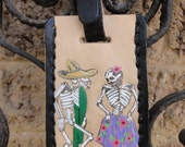 Luggage Tag with Day of the Dead Dancing Couple