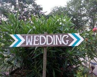Chevron Wedding Signs ANY COLOR Chevron Decorations Outdoor Weddings Arrow signs Reclaimed Wood. Rustic Weddings. Colorful.  Road Signs.