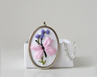 Butterfly necklace, embroidered jewelry, silk butterfly pendant, silk ribbon embroidery, pink butterfly jewelry, oval pendant necklace