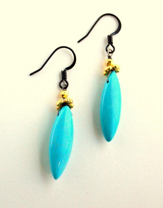 Long Turquoise Earrings, Turquoise Gold Black, Marquis Shape, Resort Earrings, Long Turquoise Earrings, Boho, Glamorous, SALE