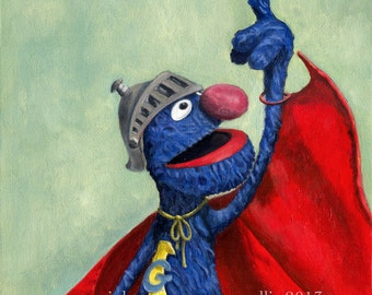 Up, Up, and Away - Super Grover print 8.5 x 11