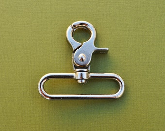 FREE SHIPPING--Heavy Duty High Quality 10 of 2 inches Inside Loop End Large Silver/Nickel Swivel Clasps Hooks
