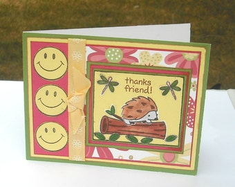 Clearance Card, Thank You Card, Greeting Card, Thanks Friend Card, Woodland Card, Card with Hedgehog, Thank You Note Card