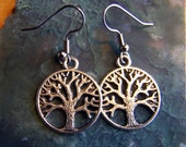 Tree of Life earrings - silver Tree charm on Surgical Stainless steel french hook ear wires - tree earrings - mandalarain