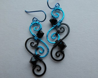 Wire Spiral Earrings -- Turquoise and Black Swirl Wire Wrapped Filigree Earrings, Jet Black Swarovski Crystals, Anodized Niobium Ear Wires