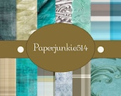 Teal and Grey Grunge  -12x12 -  Digital Scrapbook Papers - BUY Any 3 Three Dollar Digital Items Get 1 Free
