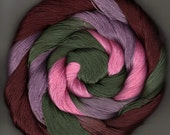Size 10 Cotton Crochet Thread 50 yards Hand Dyed  pink brown green rose Kipling