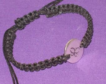 Hand  Stamped Silver Disk on Macrame Adjustable Bracelet - ID Bracelet