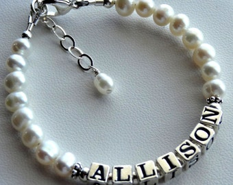 Flower  Girl -- Freshwater Pearl and Sterling Silver Name Bracelet, Baby Child Personalized Name Bracelet