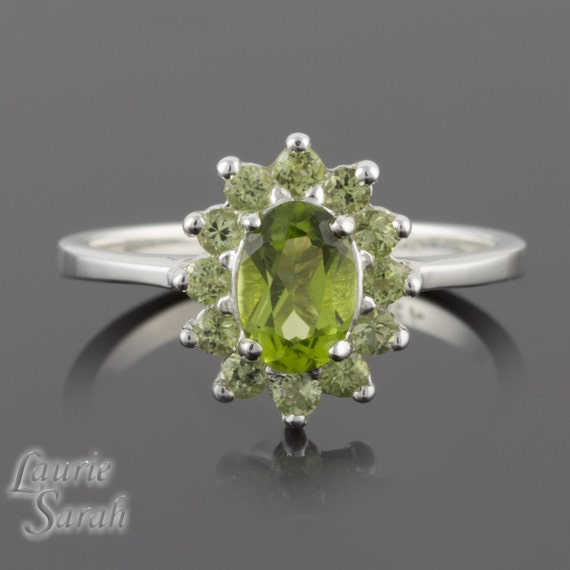 Birthstone Ring, Peridot August Birthstone Ring with Peridot halo, Custom Jewelry is our Specialty - LS1940