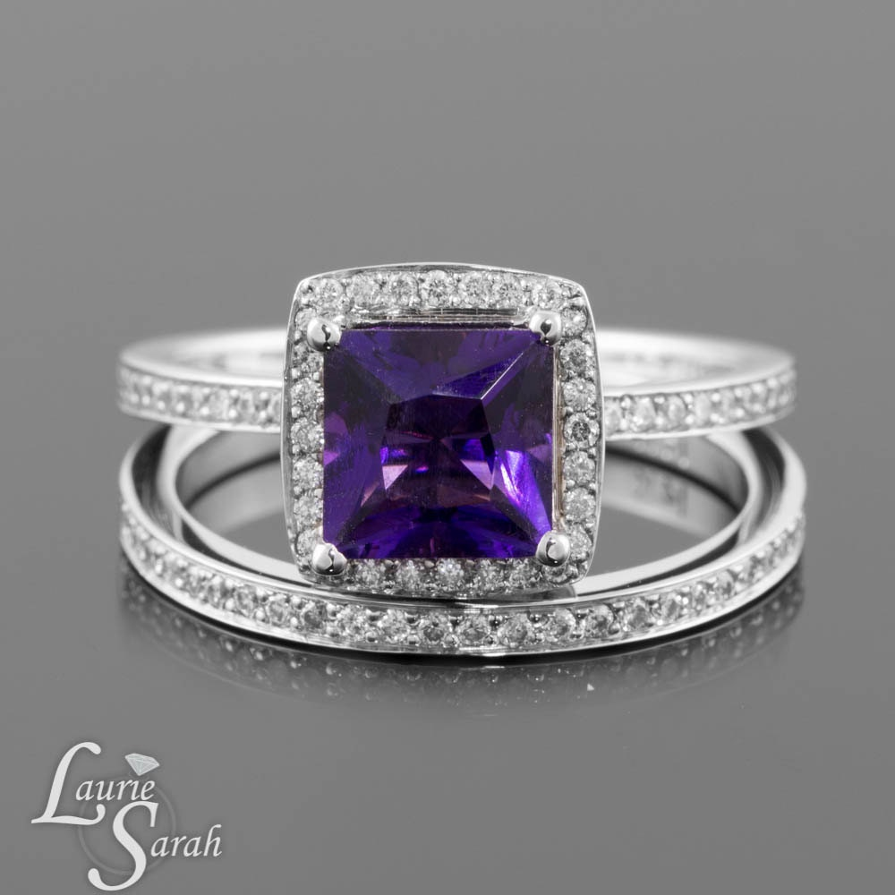 amethyst engagement ring royal purple princess cut amethyst