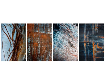 Industrial photography series, rust photos, set of four photos, rustic industrial home decor, abstract artwork, 5x7, 8x10, 11x14, 16x20