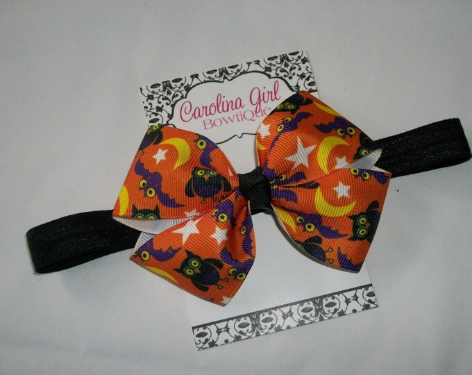 Halloween Owls  Bow Headband - Halloween Bow on an Elastic Headband - Girls Hair Bows