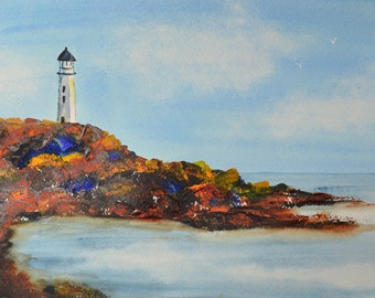 Lighthouse Art, Fine Art-Watercolor Painting of Lighthouse in a Rocky Cove