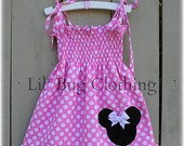 MInnie Mouse Bubble Gum Pink Dress, Minnie Mouse Pink Smocked Dress, Custom Boutique Pink MInnie Mouse Dress,