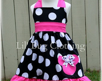 Minnie Mouse Girls Summer Dress, Black Jumbo Dot  Hot Pink Minnie Mouse Dress, Minnie Mouse Birthday Girl Dress
