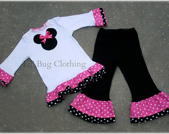 Custom Boutique Clothing Pink White Dot Minnie Mouse Pant and Tee Winter Girl