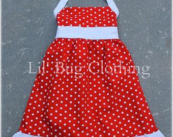 Custom Boutique Clothing Red White Polka Dot Jumper Halter Dress Summer Teen Beach Movie