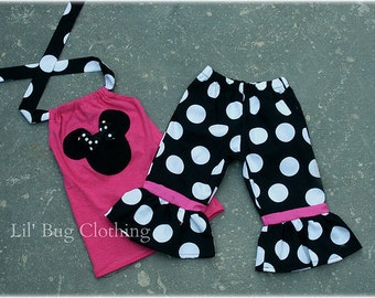 Custom Boutique Clothing Black White Hot Pink Jumbo Dot Minnie Mouse Capri  Halter Set