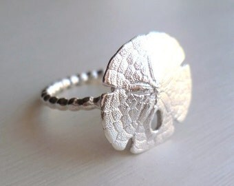 Silver Sand Dollar Ring - Sea Biscuit Ring - Organic Ring - Shell Ring - Beach Wedding Jewelry - Silver Sea Biscuit - Made In Brooklyn