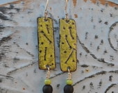 Lime Green and Black Torch Fired Enamel Dangle Earrings