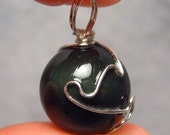 Black Materia - Freestyle Silver Wire-Wrapped Rainbow Obsidian Pendant
