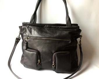 Willow leather laptop/ipad bag in black - gunmetal hardware