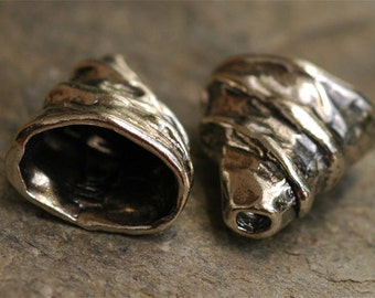 Sale Two Sterling Silver Beading Cones - Wrapped Oval Shaped WAS 40.50