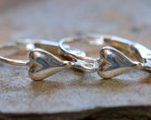 Heart Leverback Earrings - Sterling Silver Shiny Heart Leverbacks - 1 Pair