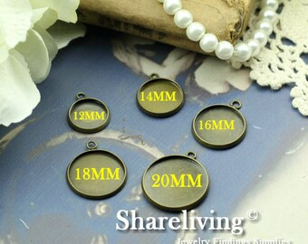 10PCS Antique Bronze 12mm / 14mm / 16mm / 18mm / 20mm / Cameo Base Setting Pendant / Charm