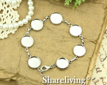 2pcs 190mm Silver Tone  Bracelet With 12mm Round Cameo Setting  RI851