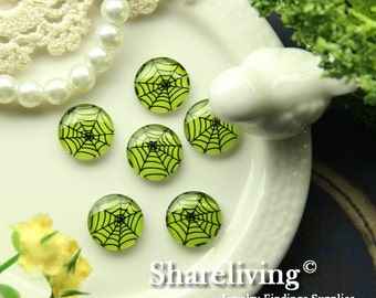 Glass Cabochon, 8mm 10mm 12mm 14mm 16mm 20mm 25mm 30mm Round Handmade photo glass Cabochons  (Halloween) - BCH228P
