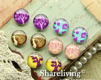 10pcs 12mm Mixed Handmade Photo Glass Cabochon / Wooden Cabochon  -- MCH004G