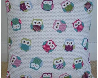 "16x16 Owls Pillow Cover 16""x16"" Throw Cushion Case Sham Slip 16"" NEW Pink Burgundy Blue Green Colorful Owl Design"
