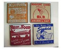 retro diner coaster set 1950's Route 66 vintage menu matchbook art rockabilly kitsch