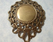 Large Domed Filigree Pendant with 18mm Smooth Center Oxidized Brass