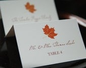 Fall Leaves Wedding Escort Cards, Elegant Autumn Place Cards, Personalized Table Tents, Reception Paper Goods