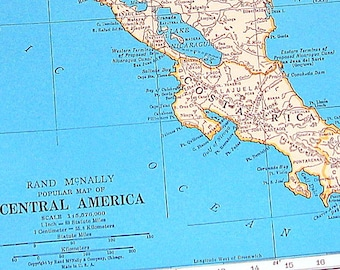 Map of Central America, Map of the West Indies - 1936 Vintage Map from World Atlas 11 x 14