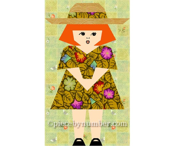 Sophie-Claire little girl quilt block pattern, paper pieced quilt pattern, instant download PDF, kids quilt pattern, baby quilt pattern