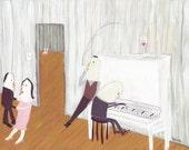Piano Player at Party Art Painting - Dancing Music Artwork Wall Decor - Original Wedding Reception Grey and Pink Pastel Outsider Folk Art