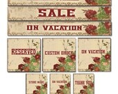Etsy Shop Banners Set Cowboy Roses in Red and Tan Rustic Old West