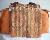 Deluxe Knitting/Crochet Tote Bag/Project Bag/Two Pocket Yarn Organizer/Handmade Tapestry Knitting Bag-MANDARIN