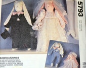 Vintage Sewing Pattern McCall's Bunnies Bride and Groom Babies   Dolls Uncut Complete