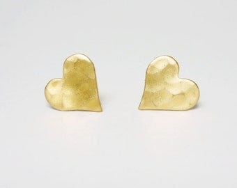 Hammered gold heart earrings Bridesmaid Gift. Minimal Jewelry Stainless Steel Posts or 925 Sterling Silver Post