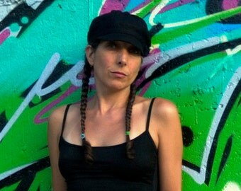 Womens Newsboy Hat in Black Raw Silk  - Janis