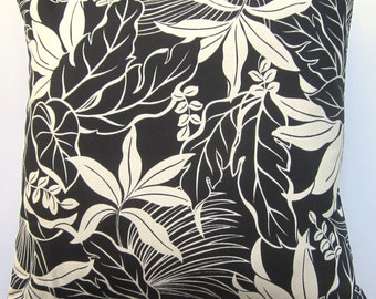 Black and Ivory Pillow Cover -- Tropical Throw Pillow Cover -- 18x18